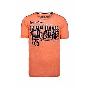 CAMP DAVID Tričko biela / oranžová / čierna vyobraziť