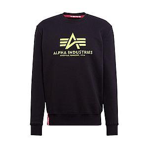 ALPHA INDUSTRIES Mikina 'Basic Sweater Neon Print' neónová žltá / čierna vyobraziť