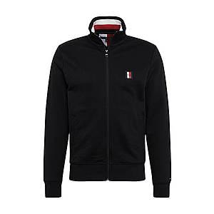 TOMMY HILFIGER Tepláková bunda 'Global Stripe' čierna / červená / biela vyobraziť