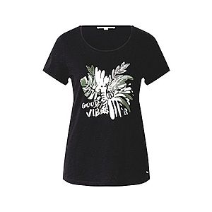 TOM TAILOR DENIM Tričko zelená / čierna / biela vyobraziť