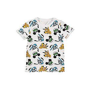 NAME IT Tričko 'MICKEY FRANCIS' biela / zmiešané farby vyobraziť
