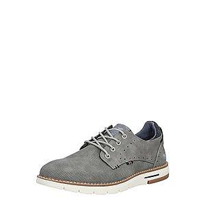 MUSTANG Šnurovacie topánky sivá vyobraziť