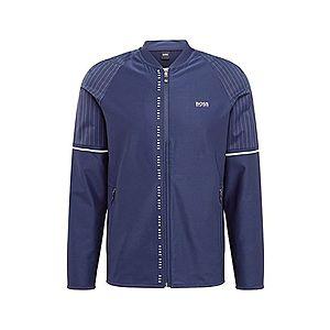 BOSS ATHLEISURE Tepláková bunda 'Sariq' námornícka modrá / biela vyobraziť