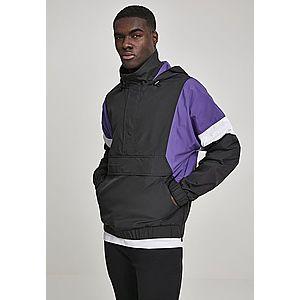 Urban Classics Light 3-Tone Pull Over Jacket black/ultraviolet/white - L vyobraziť