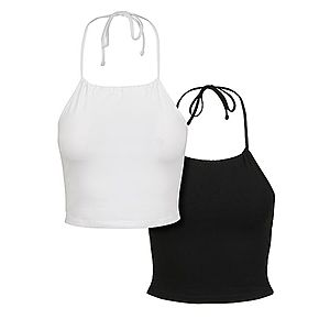 Urban Classics Ladies Cropped Neckholder Top 2-Pack black/white - S vyobraziť
