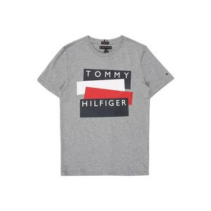 TOMMY HILFIGER Tričko 'TOMMY HILFIGER STICKER TEE S/S' sivá melírovaná vyobraziť