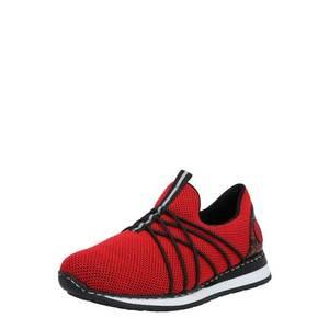 RIEKER Slip-on obuv čierna / červená / biela vyobraziť
