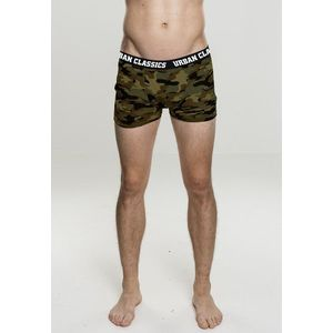 Urban Classics 2-Pack Camo Boxer Shorts woodcamo + darkcamo - S vyobraziť