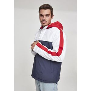 Urban Classics 3-Tone Padded Pull Over Hooded Jacket navy/white/fire red - L vyobraziť