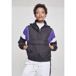 Urban Classics Ladies 3-Tone Padded Pull Over Jacket black/ultraviolet/white - S vyobraziť