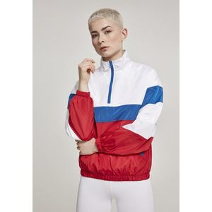 Urban Classics Ladies 3-Tone Stand Up Collar Pull Over Jacket white/firered/brightblue - S vyobraziť