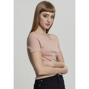 Urban Classics Ladies Off Shoulder Rib Tee lightrose - M vyobraziť