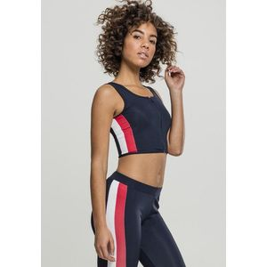 Urban Classics Ladies Side Stripe Cropped Zip Top navy/fire red/white - S vyobraziť