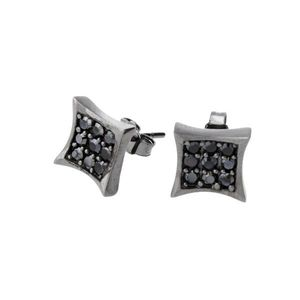 Iced Out Sterling 925 Silver Earrings - CRYSTAL 8mm black - Uni / čierna vyobraziť