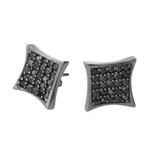 Iced Out Sterling 925 Silver Earrings - CRYSTAL 10mm black - Uni / čierna vyobraziť