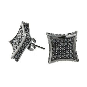Iced Out Sterling 925 Silver Earrings - ALL ICE 11mm black - Uni / čierna vyobraziť