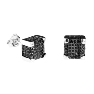 Iced Out 925 Silver MICRO PAVE Earrings - IMPERIAL 9mm black - Uni / čierna vyobraziť