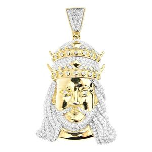 Iced Out Premium Bling - 925 Sterling Silver JESUS Pendant gold - Uni vyobraziť