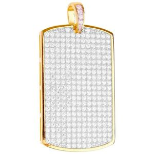 Iced Out Premium Bling - 925 Sterling Silver Dog Tag Pendant gold - Uni vyobraziť