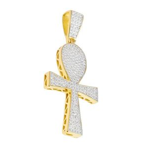 Iced Out Premium Bling - 925 Sterling Silver Ankh Cross Pendant gold - Uni vyobraziť