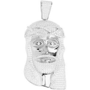 Iced Out Premium Bling - 925 Sterling Silver Jesus Head Pendant - Uni vyobraziť