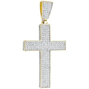 Iced Out Premium Bling - 925 Sterling Silver Cross Pendant gold - Uni vyobraziť