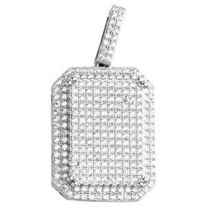 Iced Out Premium Bling - 925 Sterling Silver Dog Tag Pendant - Uni vyobraziť