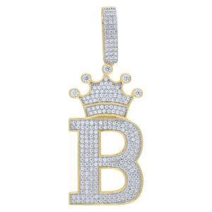 Iced Out Premium Bling 925 Sterling Silver Letter Pendant A, B, C, D....Z Gold - B vyobraziť