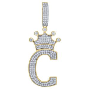 Iced Out Premium Bling 925 Sterling Silver Letter Pendant A, B, C, D....Z Gold - K vyobraziť
