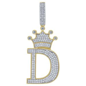Iced Out Premium Bling 925 Sterling Silver Letter Pendant A, B, C, D....Z Gold - D vyobraziť