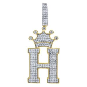 Iced Out Premium Bling 925 Sterling Silver Letter Pendant A, B, C, D....Z Gold - H vyobraziť