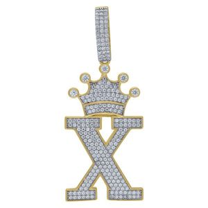 Iced Out Premium Bling 925 Sterling Silver Letter Pendant A, B, C, D....Z Gold - X vyobraziť