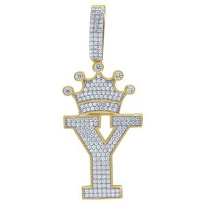 Iced Out Premium Bling 925 Sterling Silver Letter Pendant A, B, C, D....Z Gold - U vyobraziť