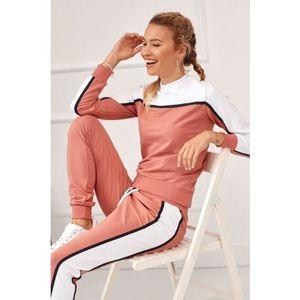 Pútavá dámska tepláková súprava s dlhými nohavicami, ružová vyobraziť