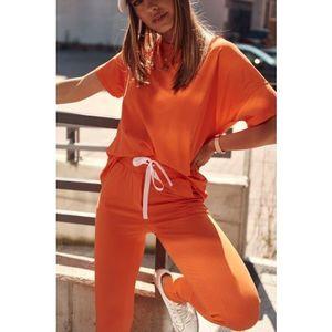 Dámska letná tepláková súprava s krátkym rukávom, oranžová vyobraziť
