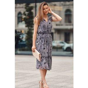 Midi šaty s oválnymi vzormi, čierne vyobraziť
