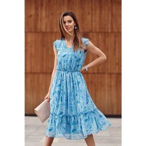 Midi šaty s oválnymi vzormi, modré vyobraziť