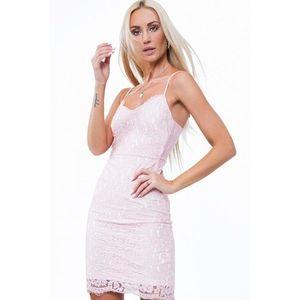 Svetloružové čipkované dámske šaty s bielou podšívkou vyobraziť