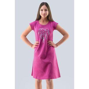 Dievčenská nočná košeľa Hearts ružová vyobraziť