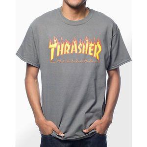 Pánske tričko Thrasher Flame logo charcoal Farba: Šedá, Veľkosť: M, Pohlavie: pánske vyobraziť