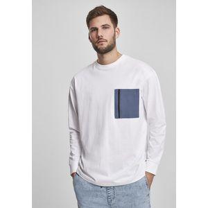 Urban Classics Boxy Big Contrast Pocket LS white - M vyobraziť