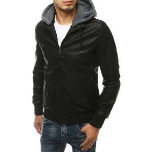 Koženková čierna bunda s kapucňou TX3456 vyobraziť