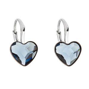Strieborné náušnice visiace s krištáľmi Swarovski modré srdce 31240.3 vyobraziť