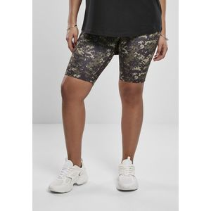 Urban Classics Ladies High Waist Camo Tech Cycle Shorts wood digital camo - S vyobraziť