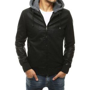 Čierna koženková bunda s praktickou kapucňou vyobraziť