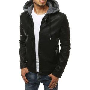 Čierna koženková bunda s kapucňou vyobraziť