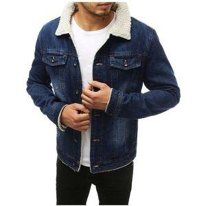 Tmavo modrá pánska džínsová bunda s kožušinkou vyobraziť