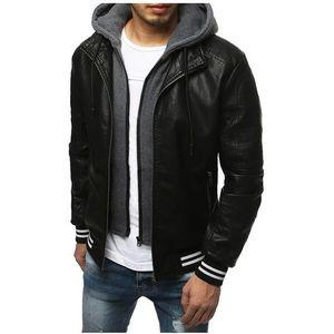Pánska čierna koženková bunda vyobraziť