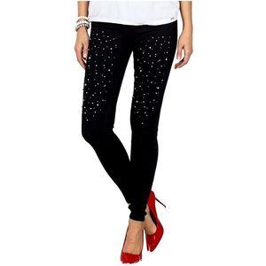 Dámske čierne džínsy s perlami vyobraziť