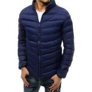Pánska tmavo modrá ĺahká prešívaná bunda vyobraziť